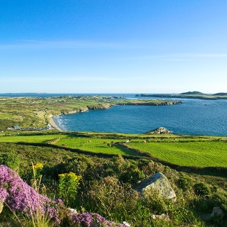 Blick über die Whitesands Bay nach Ramsey Island am St David's Head