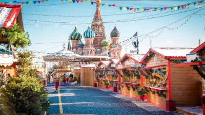 Winter holidays season on Red Square Moscow.