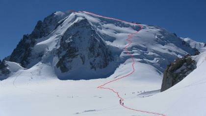 Route auf den Mont Blanc du Tacul vom Col du Midi