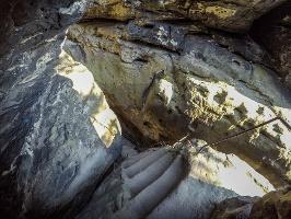 Foto Der abenteuerlichste Teil des Aufstiegs auf das Hintere Raubschloss