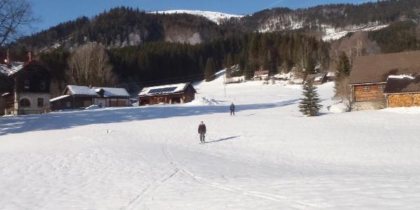 Blick zurück auf (fast) die gesamte Skitour