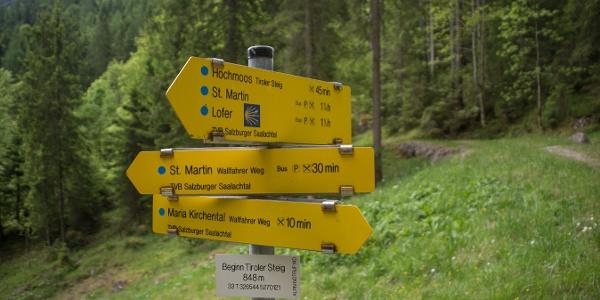 Wegweiser am Tiroler Steig