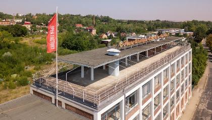 Dachterrasse der 'Open Factory', Egon-Eiermannbau in Apolda