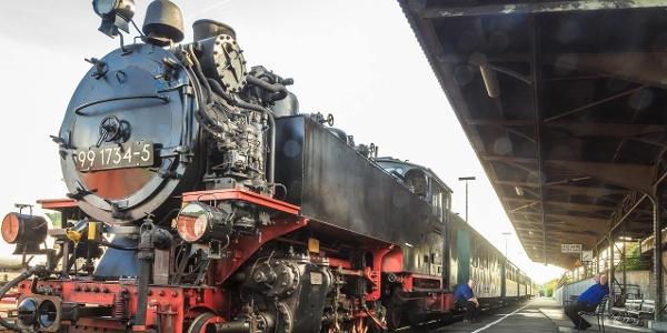 Kurz vor Abfahrt der Weißeritztalbahn im Bahnhof Hainsberg