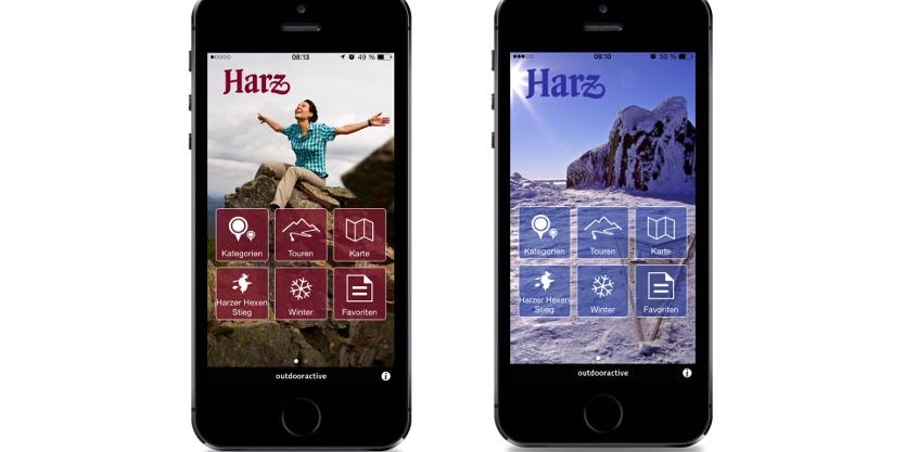 Die Harz-App im Sommer- und Winter-Design