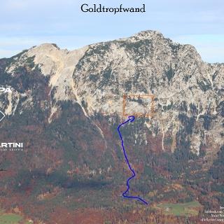 Goldtropfwand Klettergarten im Chiemgau Übersichtsbild Topo