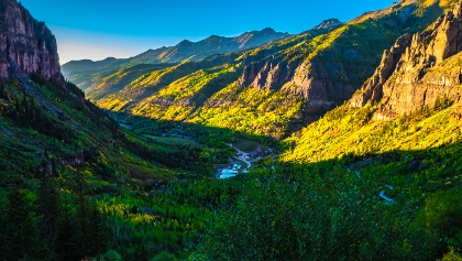 A scenic view of the Telluride landscape