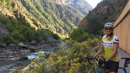 Enjoying epic views of the deep gorge canyon