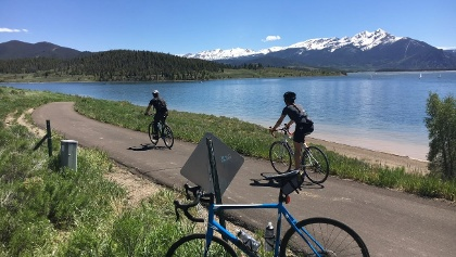 Biking around Dillon Lake and over to Keystone