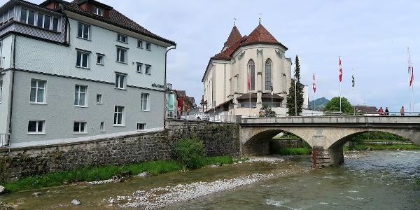 Appenzell und Fluss Sitter.