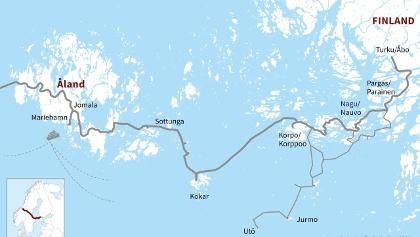 Pyhän Olavin merireitti kulkee Turun saariston ja Ahvenanmaan läpi Ruotsiin