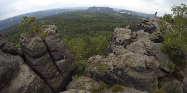 Aussicht vom Gohrisch - mittig im Hintergrund der Pfaffenstein, rechts dahinter Quirl