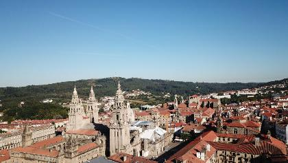 Fotografía aérea del casco histórico de Santiago de Compostela