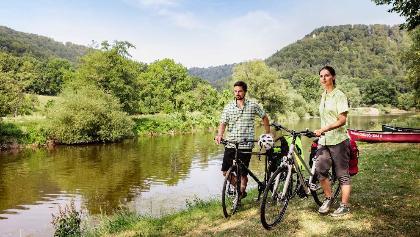 Radfahrer am Werratal-Radweg bei Frankenroda