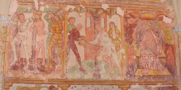 Gothic frescoes on the northern wall of St. Peters church (around 1530, Bartholomew from Škofja Loka)