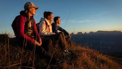 Abendsonne geniessen auf der 7-Gipfel-Tour am Flumserberg