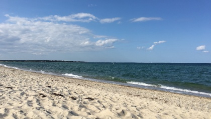 Enjoy a coastal ride and public beach stops on your way to Edgartown