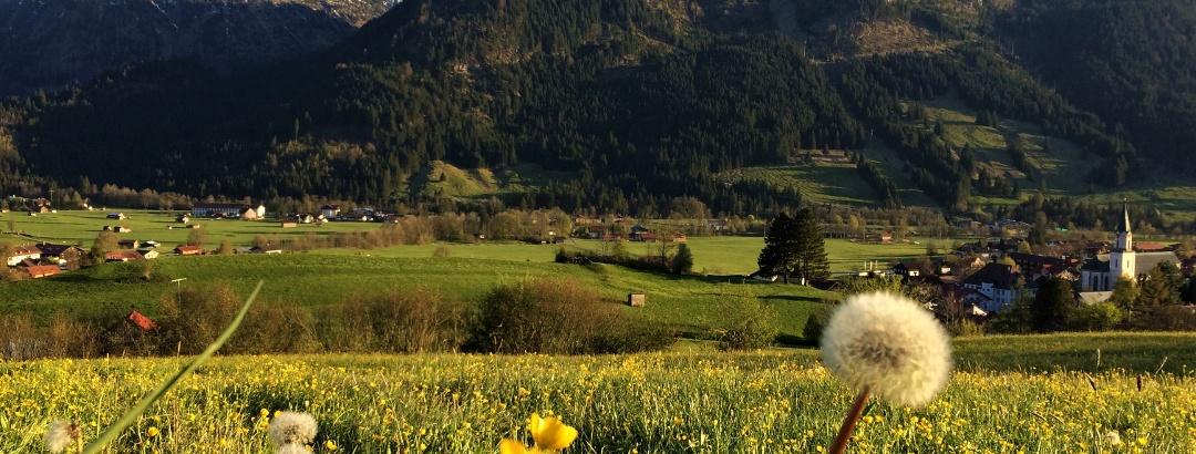 Bad Hindelang und Teile Bad Oberdorfs aus Richtung des Café Polite aufgenommen