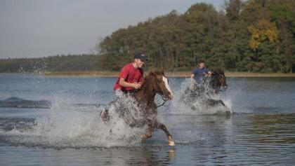 Durchreiten eines Sees in der Mecklenburgischen Seenplatte