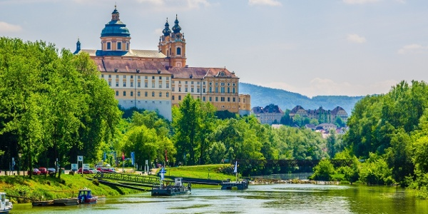 View of abbey in Melk from the Danube