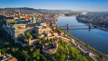 Aerial views of Budapest and the Danube