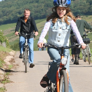 Family on the cycle trail