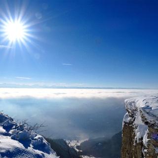 Topaussicht über dem Nebelmeer.