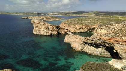 The clear waters around Gozo