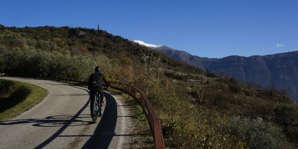 Salita verso Padaro coi tipici colori invernali