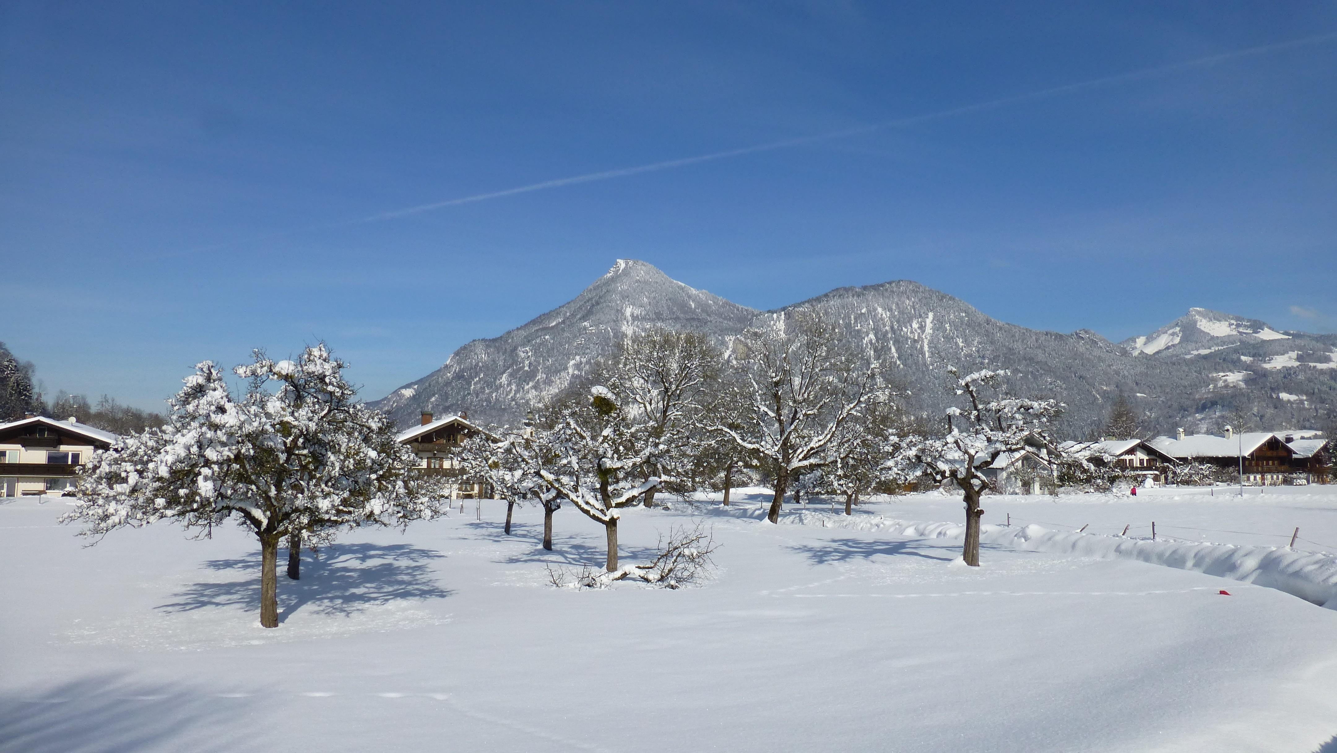 Niederaudorf mit Kranzhorn im Hintergrund im Winter