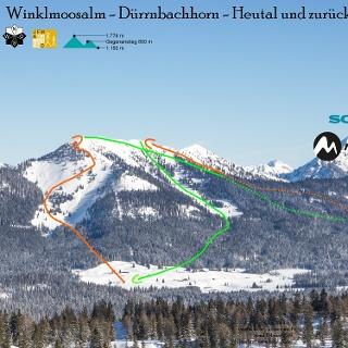 Übersichtsbild Skitour von der Winkelmoosalm übers Dürrnbachhorn ins Heutal - Top