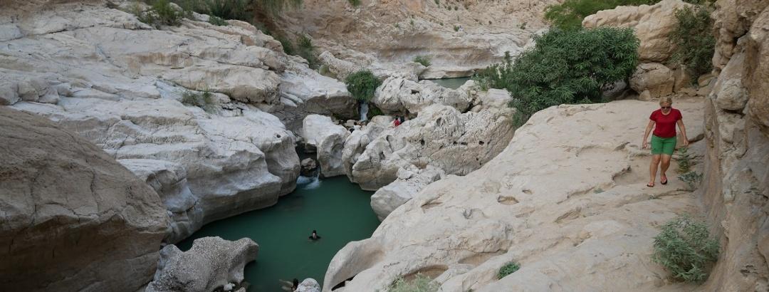 Emerald pool inside the Wadi Bani Khalid