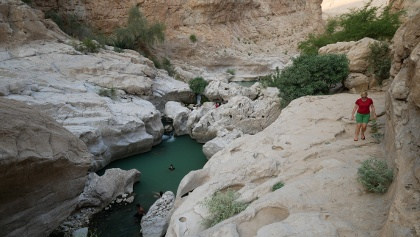 Emerald pool inside the Wadi Bani Khalid