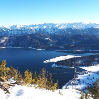 Blick auf den Walchensee mit Soierngruppe und Karwendel