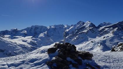 Gipfelaussicht auf das Berninamassiv: Palü, Bellavista, P. Bernina, P. Morteratsch