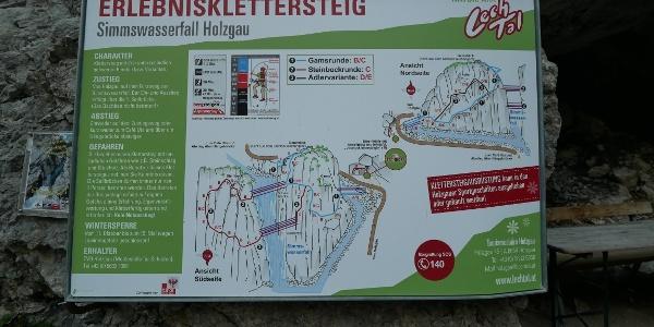 Infotafel zum Klettersteig am Simms-Wasserfall