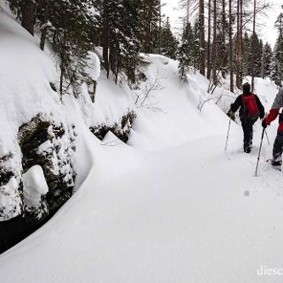 Wir laufen nun im Tiefschnee und über Schneebrücken im Schwarzwassertal.