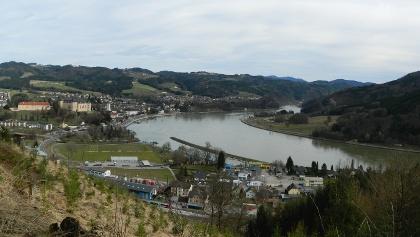 Blick vom Donausteig auf Grein und Strudengau