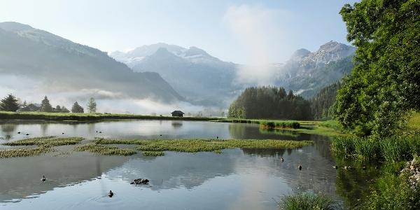 Das harmonisch gelegene Lenkerseeli mit Blick auf das Wildstrubelmassiv