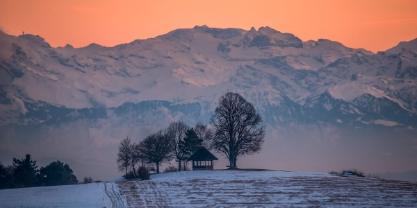 Blick auf den Gupfen und die Schweizer Alpen