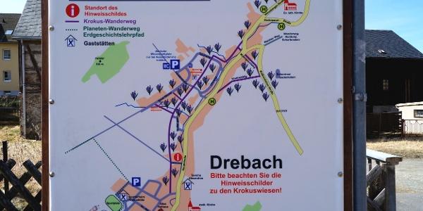 Hinweisschild Drebacher Krokuswiesen