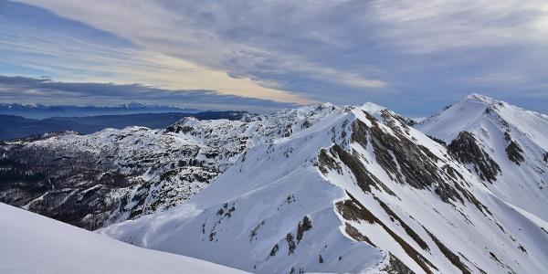 On the ridge towards Mt. Rušnati vrh; Globoko Mountain pass (first summit in the background)