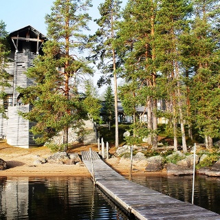 Lakeside Hotel Kalevala, go swimming directly from hotel sauna KUHMO FINLAND