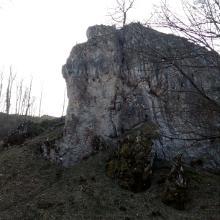 Blick auf den Felsen an der Domäne Falkenstein