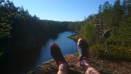 Routa Travel Trail running in Hiidenportti National Park, Vuokatti Arctic Lakeland