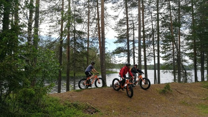 Cycling in Martinselkonen, Suomussalmi, Arctic Lakeland