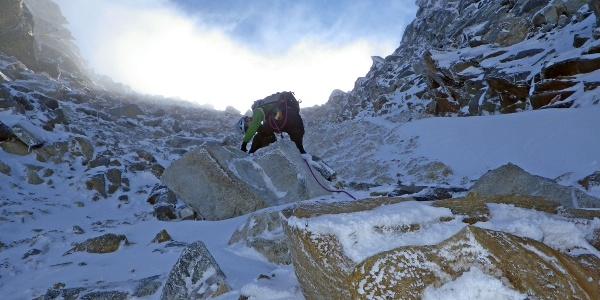Aufstieg Preimlscharte mit Schneeauflage