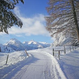 Winterwanderweg mit Blick auf Talabschluss