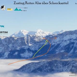 Schrecksattel mit Ski auf die Reiter Alm - Topo - Übersichtsbild