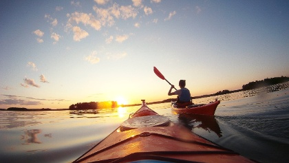 Kayaking in the evening